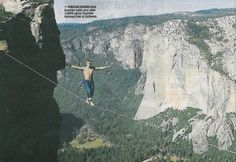 Mich Kemeter 3,000 feet above Yosemite National Park, in California, performing the dangerous craze of highlining – tightrope walking at some of the world's most terrifying locations.