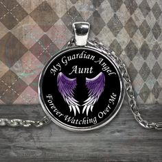 Aunt Guardian Angel Round Pendant Purple - My Aunt is my Guardian Angel Forever Watching Over Me