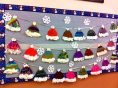 Winter Hats winter art, art lessons, winter bulletin boards, birthday board, mixed media art, winter craft, christmas bulletin boards, art projects, winter hats