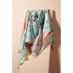 Anthropologie Azalia Silk Kerchief Scarf ($32) ❤ liked on Polyvore featuring accessories, scarves, blue motif, tie scarves, silk shawl, blue bandana, anthropologie and blue shawl
