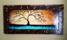 Faux Framed Abstract Tree Art 24x48 by Derek by Patterson Tree Paintings