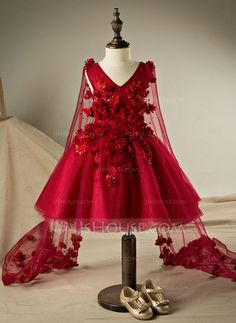 Ball Gown Knee-length Flower Girl Dress - Polyester/Cotton Sleeveless V-neck With Flower(s)/Rhinestone (010095983)