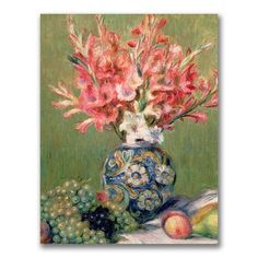 "Trademark Art ""Still life of Fruit and Flowers"" by Pierre-Auguste Renoir Painting Print on Wrapped Canvas Size:"