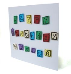 A bright and cheerful birthday card that is personalised with the name of the recipient. The card has space to include a name up to 8 letters long. Each letter is hand stamped in black ink onto a variety of colours of card. If there are particular colours you would like please let us know (e.g. a purple and pink theme for a girl). This would make a great birthday card for children, as well as fun loving adults! The card is made from 250gsm ultra smooth white cardstock and comes with a ...
