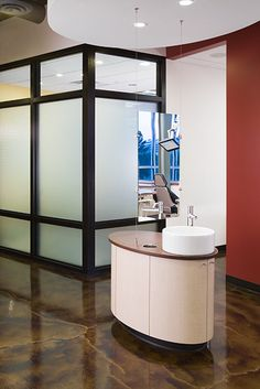 Mirror Stained concrete  Stapleton Dental - Dental Office Design by JoeArchitect in Denver, Colorado