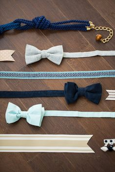 bow ties + ribbon for a nautical wedding // photo by Emma Cleary