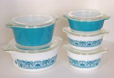 Vintage Pyrex Spring Horizon Blue Bake Serve by sassboxclassics, $155.00