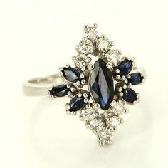 Vintage 14 Karat White Gold Diamond Sapphire Cocktail Ring Fine Estate Jewelry $595