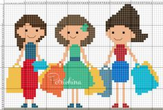 shopping con le amiche - schema punto croce - cross Stitch - Kreuzstich - Punto de Cruz