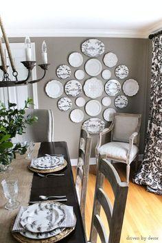 Beautiful plate wall as dining room art!