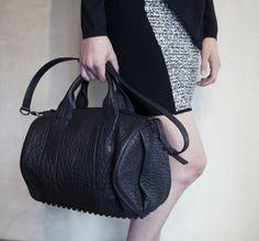 October 2012: Alexander Wang Rubberized Tweed Pencil Skirt in Black & White. Alexander Wang Rocco Handbag in Black Pebble Lamb with Matte Black Hardware.