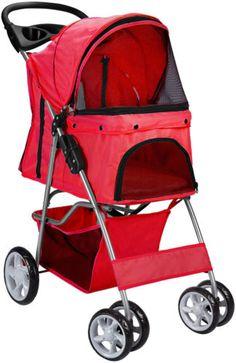 Strollers 116380: Oxgord Pet Stroller Cat Dog 4 Wheeler Walk Stroller Travel Folding Carrier Red -> BUY IT NOW ONLY: $40.95 on eBay!