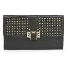 Rebecca Minkoff Women's Coco Leather Clutch with Studs - Black (560 RON) ❤ liked on Polyvore featuring bags, handbags, clutches, clutches / wallets / purses, studded handbags, leather handbags, purse, black leather purse and black clutches