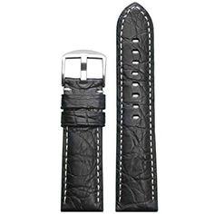 ed6dbd355 Panatime Black Genuine Crocodile Skin Watch Strap with Matte Finish and  White Stitching