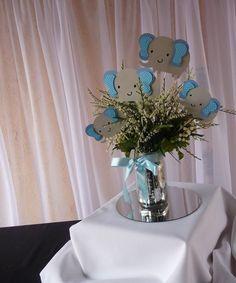 Elephant Theme,   Elephant centerpieces Stick,Elephan Baby shower Blue and Gray  #HandmadeCreationscuadraHauck #BabyShowerBirthdayChild