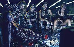 Adriana Lima, Rosie Huntington-Whiteley, Crista Cober, Isabeli Fontana, and Joan Smalls for Balmain Spring/Summer 2015