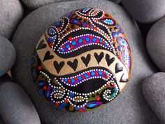 Queen of Hearts. River of Love. Painted rock (sea stone) from Cape Cod.  This stone feel so amazing when held. It has a grounding weight.