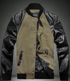 Khaki Plus Size Men's Leather Combo Baseball Jacket    Featuring khaki cotton textile main with long length leather sleeves, a rib insert band collar, press stud closure to front,twin jet pockets to the lower front,plus size available, in a fashion style.  Also available in black color.  50% cotton, 30% nylon, 20% leather.  Imported.