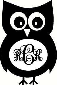 Monogrammed owl vinyl car decal by mtcvinyl on Etsy, $3.50