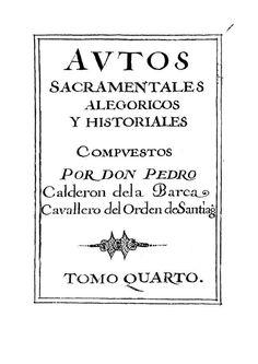 Autos sacramentales Calderón de la Barca, Pedro
