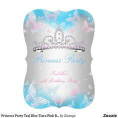 Princess Party Teal Blue Tiara Pink Butterfly 2 5x7 Paper Invitation Card