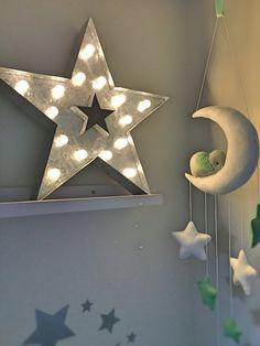 Teal and grey, star, elephant nursery theme.