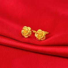 eBay #Sponsored 999 New Pure 24K Yellow Gold Earrings Woman's Frosted Rose Gift Stud Earrings