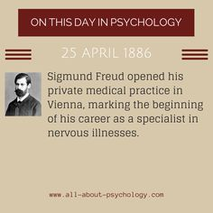 Information Via: www.amazon.com/dp/B00V5D0KXI On This Day in Psychology: A Showcase of Great Pioneers and Defining Moments.Go Here –> www.all-about-psychology.com/sigmund-freud.html for free Freud info & resources.