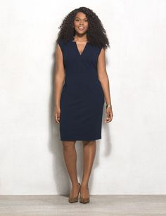 The most flattering and polished dress ever. We'll be wearing this sleek number to the office on repeat. Heading out later? A sparkly statement piece instantly dazzles up your look. roz&ALI exclusively for dressbarn. Imported.