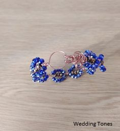 Handmade bracelet with copper wire and blue and bronze crystals Crystal Bracelets, Crystal Necklace, Handmade Copper, Gold Hair, Copper Wire, Handmade Bracelets, Bronze, Crystals, Earrings