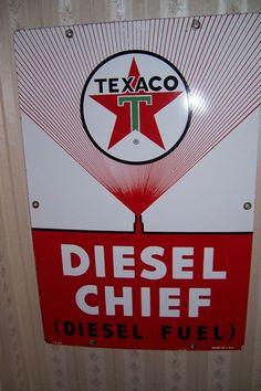 Vintage 60s Texaco Diesel Chief Porcelain Gas Pump Sign Plate Gasoline Oil