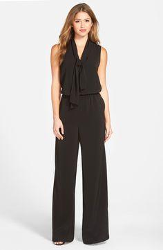 Halogen® Tie Neck Jumpsuit (Regular & Petite)