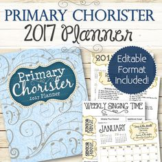 ★ PDF VERSION ONLY - http://etsy.me/2aUludk ★ 2016 VERSION - http://etsy.me/2bmB2a3  An editable version of the Primary Chorister planner with the 2017 curriculum! An all in one planner that tells you the monthly song and theme, along with song suggestions by month, teaching ideas, reference lists, planning pages, etc. Everything in one convenient place and perfect for Choristers and Subs! This comes in a PDF format AND an editable .DOCX format where you can change the fonts, sizing…
