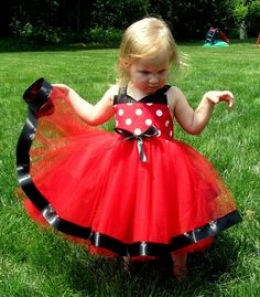 Minnie Mouse Costume tutu dress: red and white polka dots with black, easy to put on and take off, Disney birthday party or trip, adjustable on Etsy, $39.95