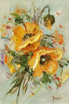 Painting palette knife artists 41 ideas for 2019 Acrylic Flowers, Oil Painting Flowers, Abstract Flowers, Texture Painting, Watercolor Flowers, Watercolor Paintings, Acrylic Paintings, Portrait Paintings, Painting Abstract