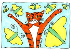 Cat Art ACEO Print  Orange Cat Yellow Butterflies by AmyBlueKat, $5.00