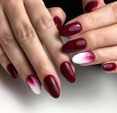 BED OF ROSES Gel Polish by Indigo Educator Anna Leśniewska, Ostrołęka #nails #nail #indigo #indigonails #red #burgundy #ombre #white #almondnails