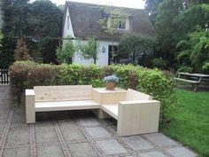 Hoekbank + Hoektafel steigerhout ( voorraad) Pallet Daybed, Outdoor Furniture Sets, Outdoor Decor, Balcony, Patio, Interior, Home Decor, Decking, Outdoors