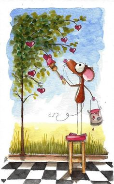 Original watercolor painting whimsical Mouse painting a mural with tree & hearts #IllustrationArt