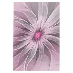 #Posters #Metal #Art - #Pink Flower Waiting For A Bee Abstract Fractal Art