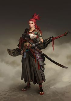 Hou China Samurai Warrior - Your Daily Dose of Amazing beautiful Creativity and Digital Art - Fantasy Characters: Archers Assassins Astronauts Boners Knights Lovers Mythology Nobles Scholars Soldiers Warriors Witches Wizards Female Character Design, Character Creation, Character Concept, Character Art, Concept Art, Final Fantasy Art, Dark Fantasy Art, Fantasy Artwork, Dnd Characters