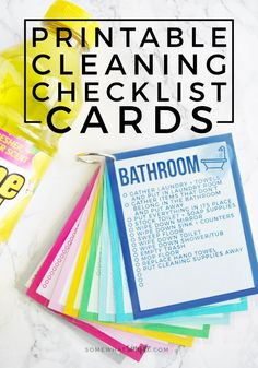 These colorful Printable Cleaning Checklist Cards will help tackle your everyday household chore goals! Plus ideas on how to make a simple cleaning caddy! via @somewhatsimple