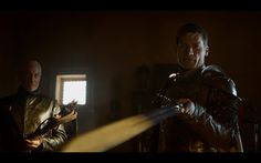 """What the title """"Two Swords"""" really means in the Game of Thrones Season 4 premiere. Jaime and Tywin look over the sword."""