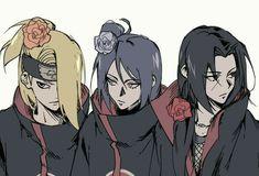 Deidara, Konan and Itachi Naruto Shippuden Sasuke, Itachi Uchiha, Anime Naruto, Naruto Comic, Boruto, Sasunaru, Deidara Akatsuki, Naruto Fan Art, Naruto Sasuke Sakura