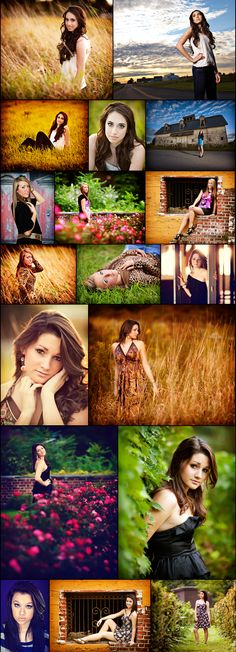 Country setting poses for girls. I really like the one where she is peeking out from the bush. Except I want to smile.