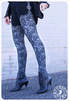 Gothic Halloween cat, moon and owl print leggings!  Night Lace Leggings - Womens Legging - Black cream - Tights - OZ - MEDIUM, $32.00