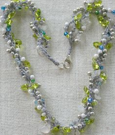 Flora Crochet Beaded Necklace with by daisychainsdesigns1 on Etsy, $45.00