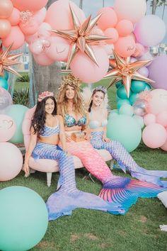 Mermaid from a Boho Mermaid Party on Kara's Party Ideas   KarasPartyIdeas.com (14) Mermaid Pinata, Mermaid Cakes, Mermaid Party Decorations, Mermaid Parties, Balloon Arch, Balloons, Balloon Installation, Mermaid Birthday, Party Printables