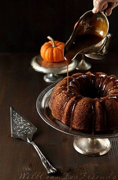 Bundt cake... with poured on icing out of a gravy boat for nice controlled easy pouring!!