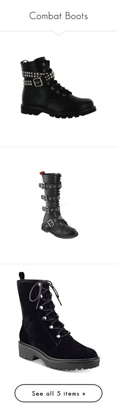 """Combat Boots"" by wolf-demon on Polyvore featuring shoes, boots, black, short boots, strappy boots, military boots, black strappy boots, strap boots, lace up boots and black army boots"
